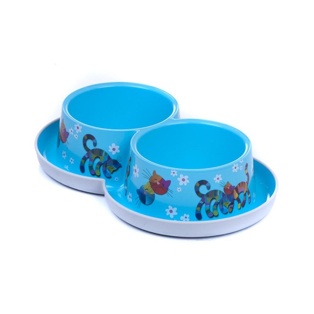 Trendy-Doppelnapf-Napf-Futternapf-Wassernapf-Hund-Katze-2x-350-ml-viele-Farben